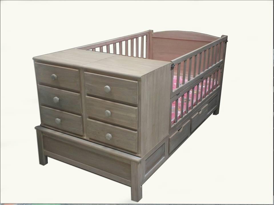 Cunas cama cuna p bebes convertible a cama ind con 2 for Buros de cama modernos