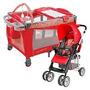 Cuna Corral Para Bebe Rojo + Coche Reversible Rojo