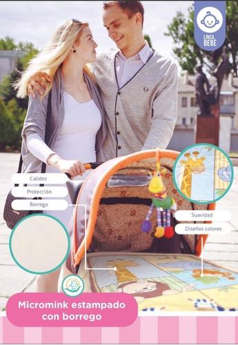 cunero cobija micromink con borrega 100x70cm modelo a elegir