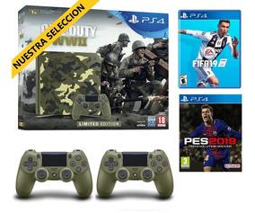 Cuotas Fijas Playstation 4 1tb Ww2 + Fifa19 O Pes 2 Joystick