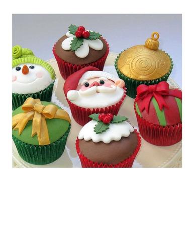 cupcake  con decorado  de navidad