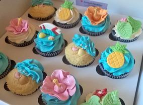 Cupcakes Decorados Premium Temática Playa Hawaii Moana