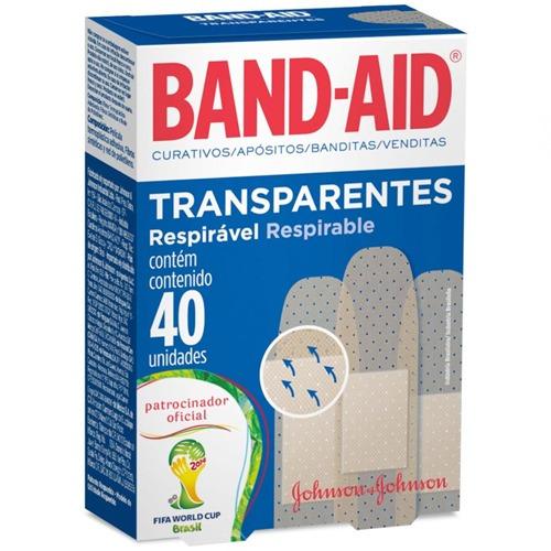 curativo band-aid transparente c/ 40 unidades