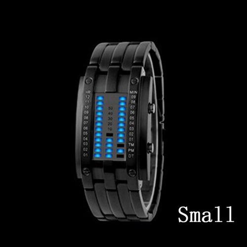 curioso reloj binario luz azul  led electronico hombre mujer