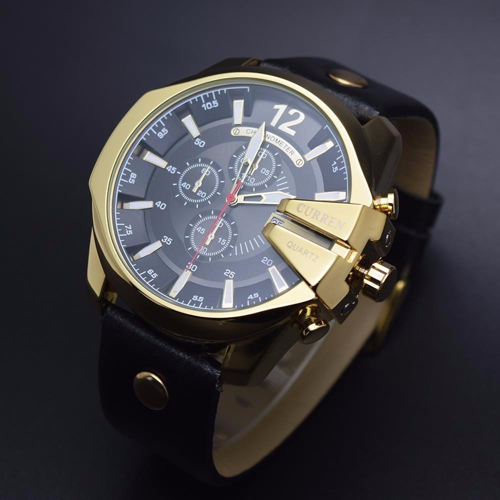 3c9c9a9c60c Relogio Curren Masculino Luxo Lançamento Gold Preto Ad1514 - R  149 ...