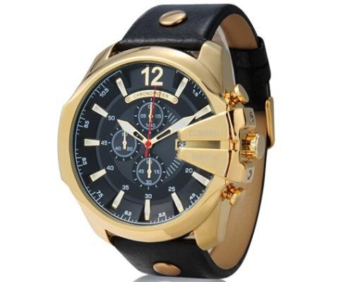 a2226d315c9 relógio importado curren 8176 masculino dourado preto couro relógio curren  masculino curren masculino relógio