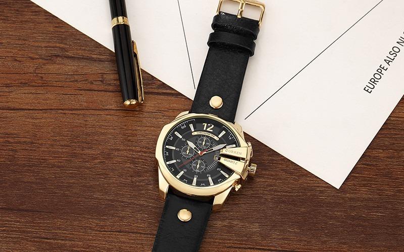 0790b1b4627 Carregando zoom... relógio importado curren 8176 masculino dourado preto  couro