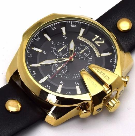 fd896ccb713 relógio curren masculino dourado preto couro 8176 importado · relógio  curren masculino · curren masculino relógio