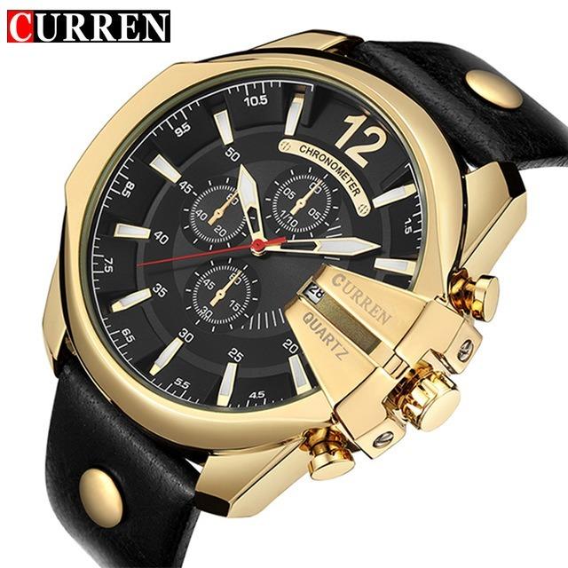 42e3e960fe2 Curren Relógio De Pulso Masculino Importado Preto Dourado - R  139 ...