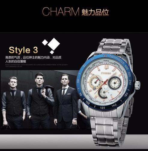 curren reloj de vestir cuarzo impermeable color azul