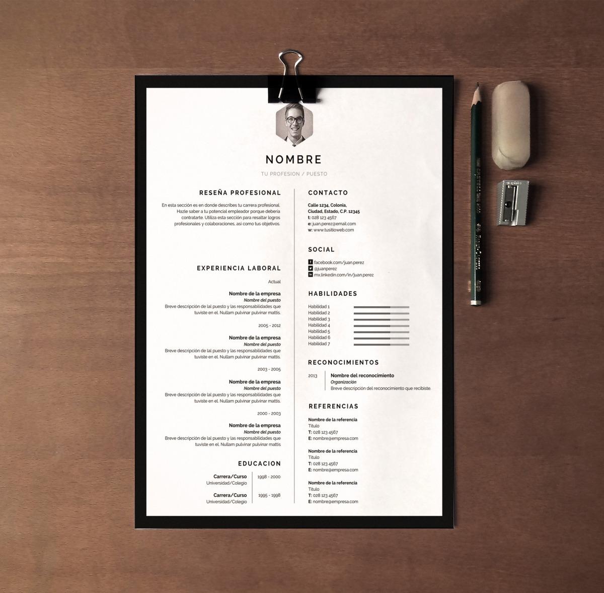 Curriculum Vitae Cv Diseño Profesional Marco - Word Docx - $ 49.00 ...