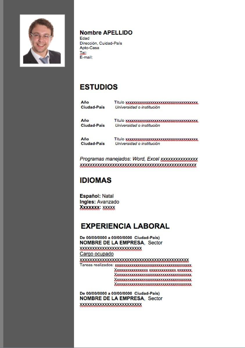 Atractivo Descarga De Formato De Curriculum Vitae De Esteticista ...