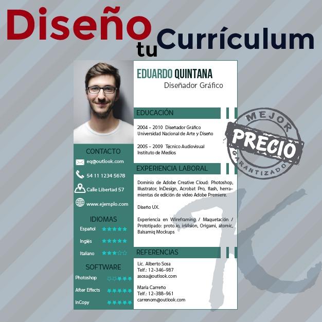 Curriculum Vitae Diseno 300 00 En Mercado Libre