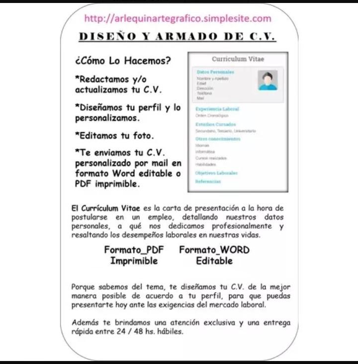 Curriculum Vitae En Formato Pdf Imprimible Envio Via Email 150
