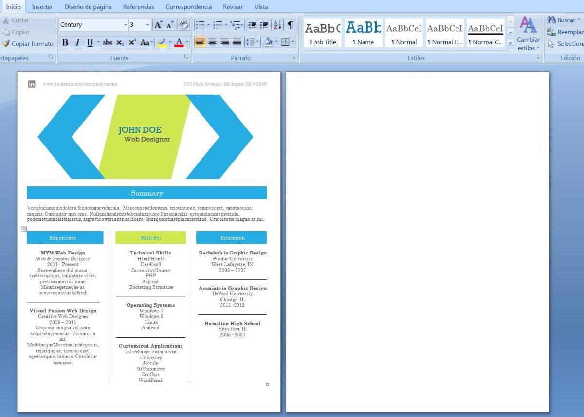 Curriculum Vitae Hojas De Vida Plantillas Editables World - $ 10.000 ...