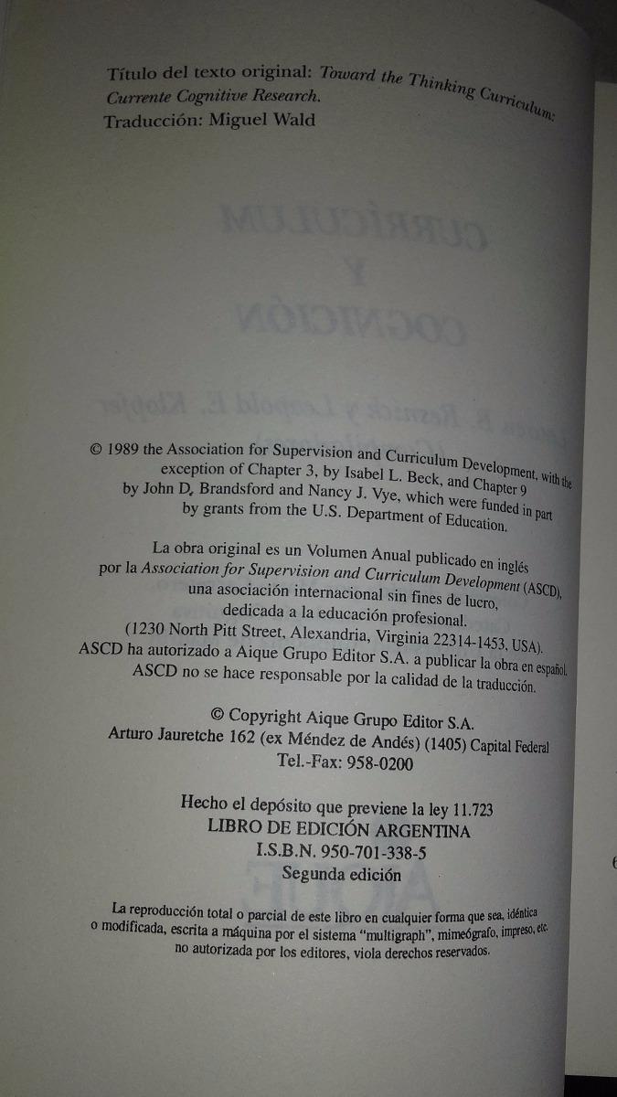 Curriculum Y Cognicion Resnick Aique - $ 350,00 en Mercado Libre