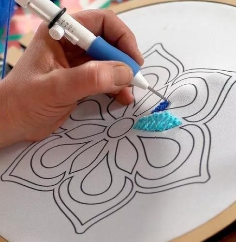 curso+aguja de bordado mágico+bastidor+patrón