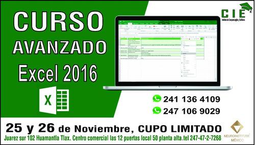 curso avanzado de excel 2016. huamantla tlaxcala
