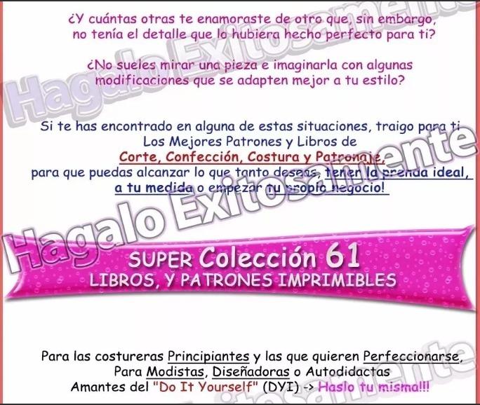 Curso D Corte Costura Y Confección Patrones 61 Libros + Bono - S/ 10 ...