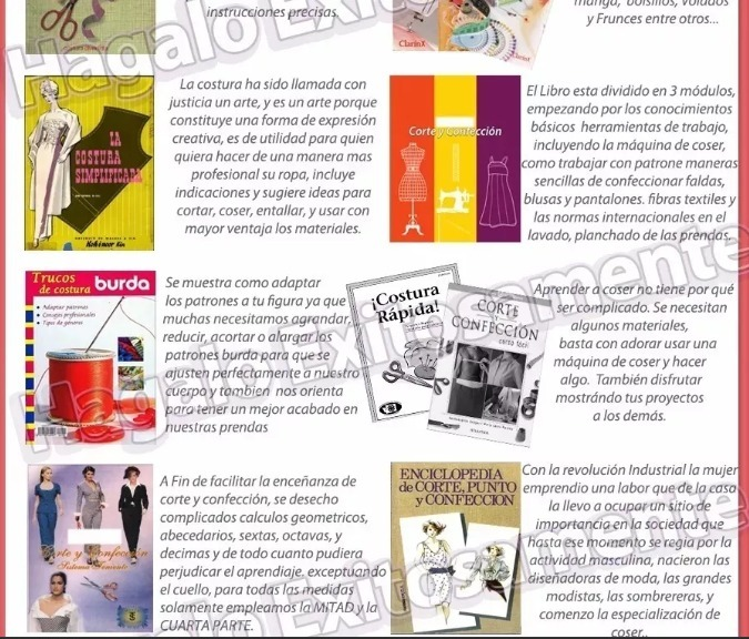 Curso D Corte Costura Y Confección Patrones 61 Libros + Bono - $ 800 ...