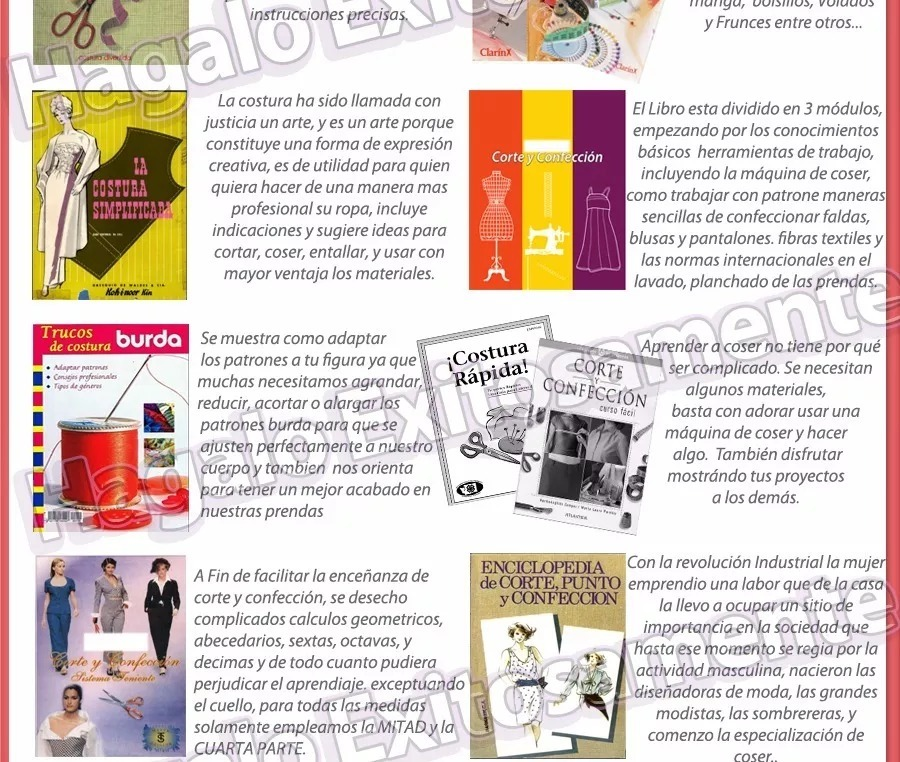 Curso D Corte Costura Y Confección Patrones 61 Libros + Bono - Bs ...