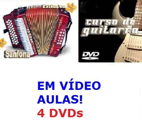 curso de acordeon + guitarra aulas em 4 dvds dfz6
