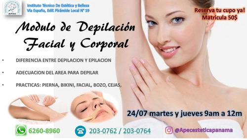 curso de depilación con cera facial y corporal