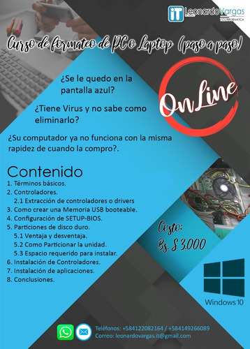 curso de formateo de pc / laptop