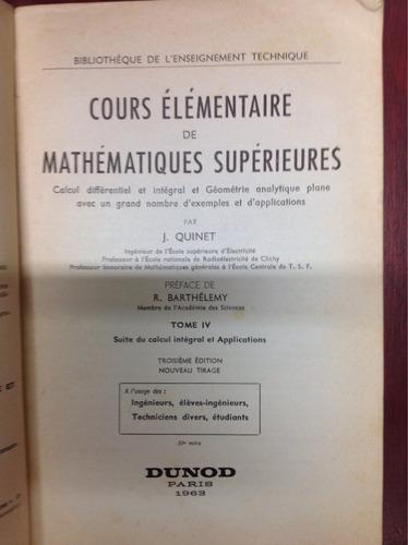 curso elemental de matemáticas superiores en francés