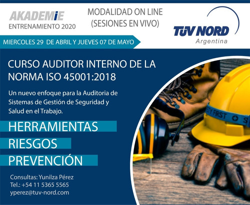 curso on line  iso 45001  - tüv nord argentina