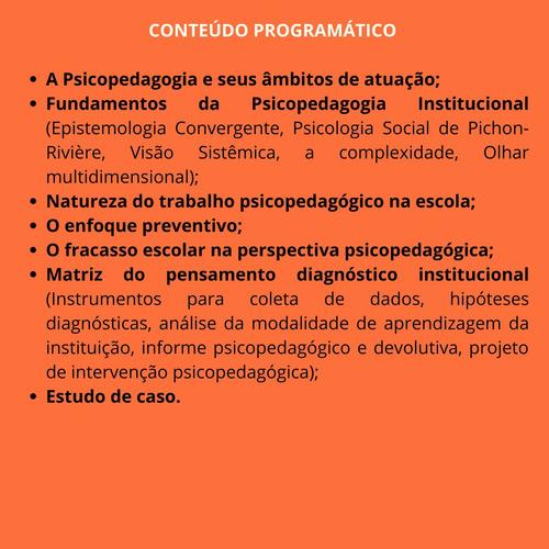 curso psicopedagogia na instituição escola