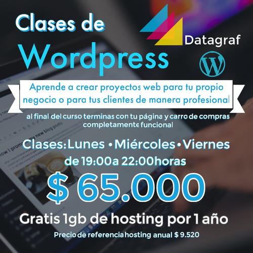 curso wordpress + 1 año de hosting gratis (presencial)