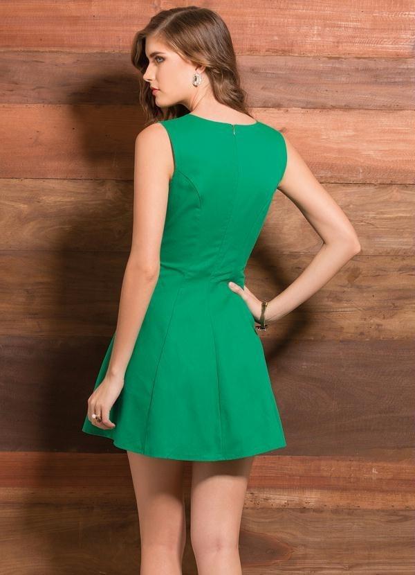 d90d0e603d Carregando zoom... vestido evasê verde curto feminino casual festa balada