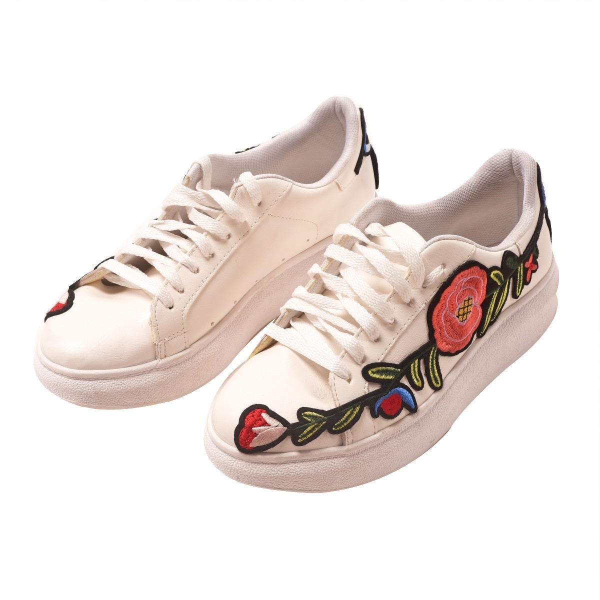Flores con Suela Blanca y Las Mujeres Zapatillas Beige de Cu?a - 40 tmbcF