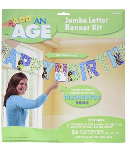 cute party pups jumbo add-an-age letter banner decoracion