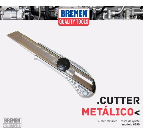cutter metalico bremen® 6650 trincheta navaja 18mm profesion