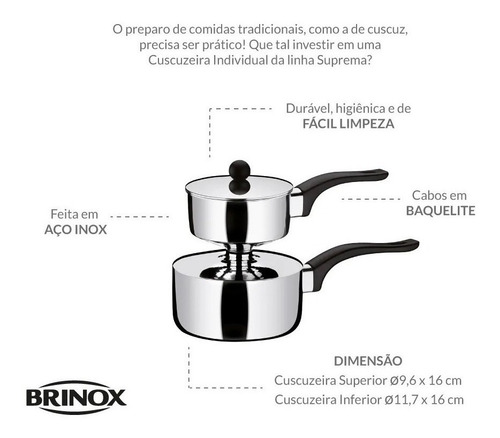 cuzcuzeira individual nordestino prático aço inox brinox