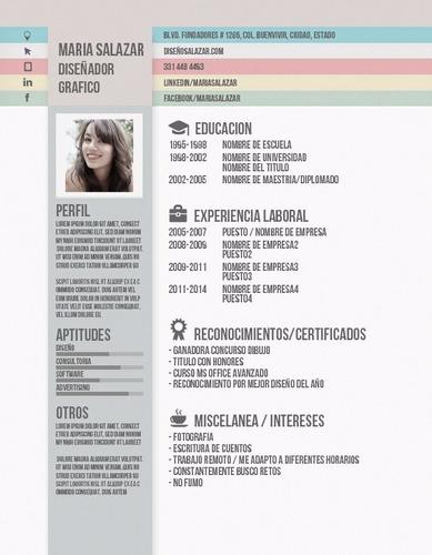 cv curriculum vitae creativo y profesional incluye redaccion
