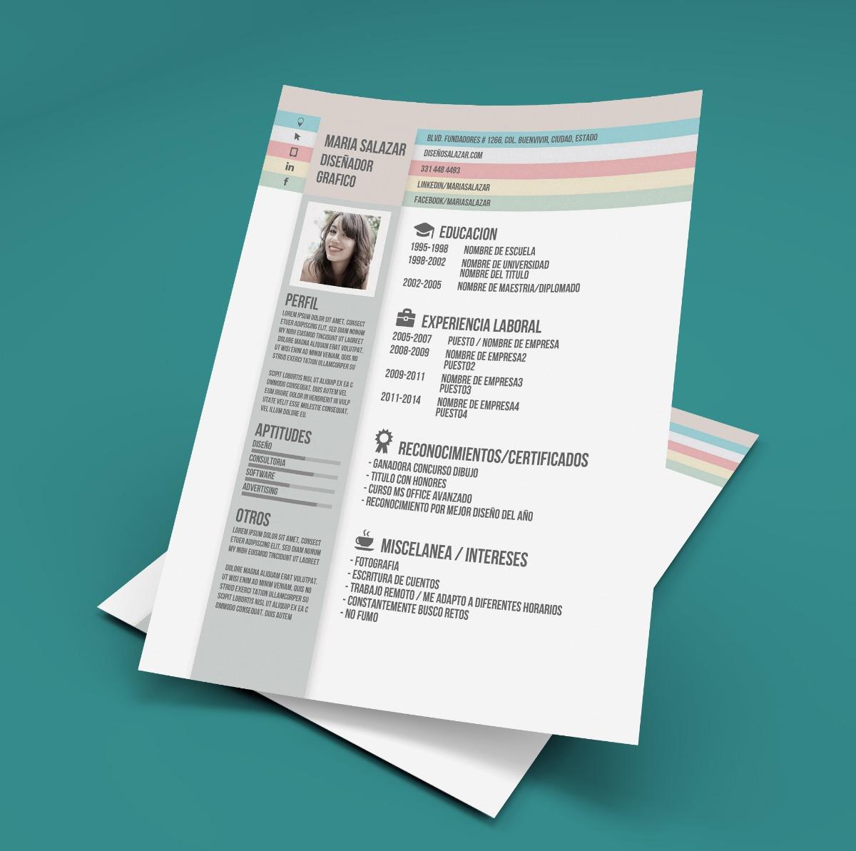 Cv Curriculum Vitae Creativo Y Profesional Incluye Redaccion ...