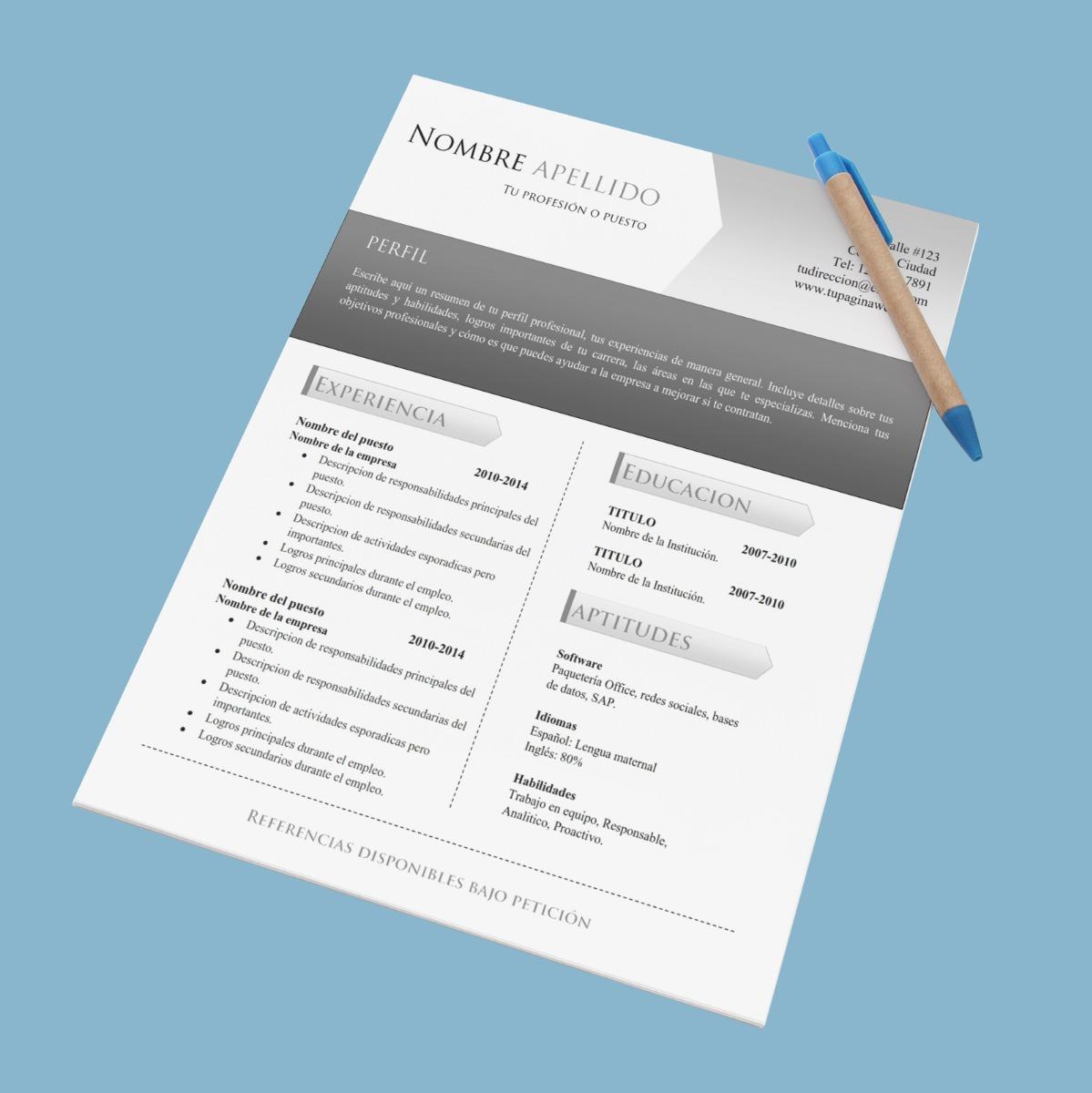 Cv Curriculum Vitae - Español/inglés - Doc Editable - $ 35.00 en ...
