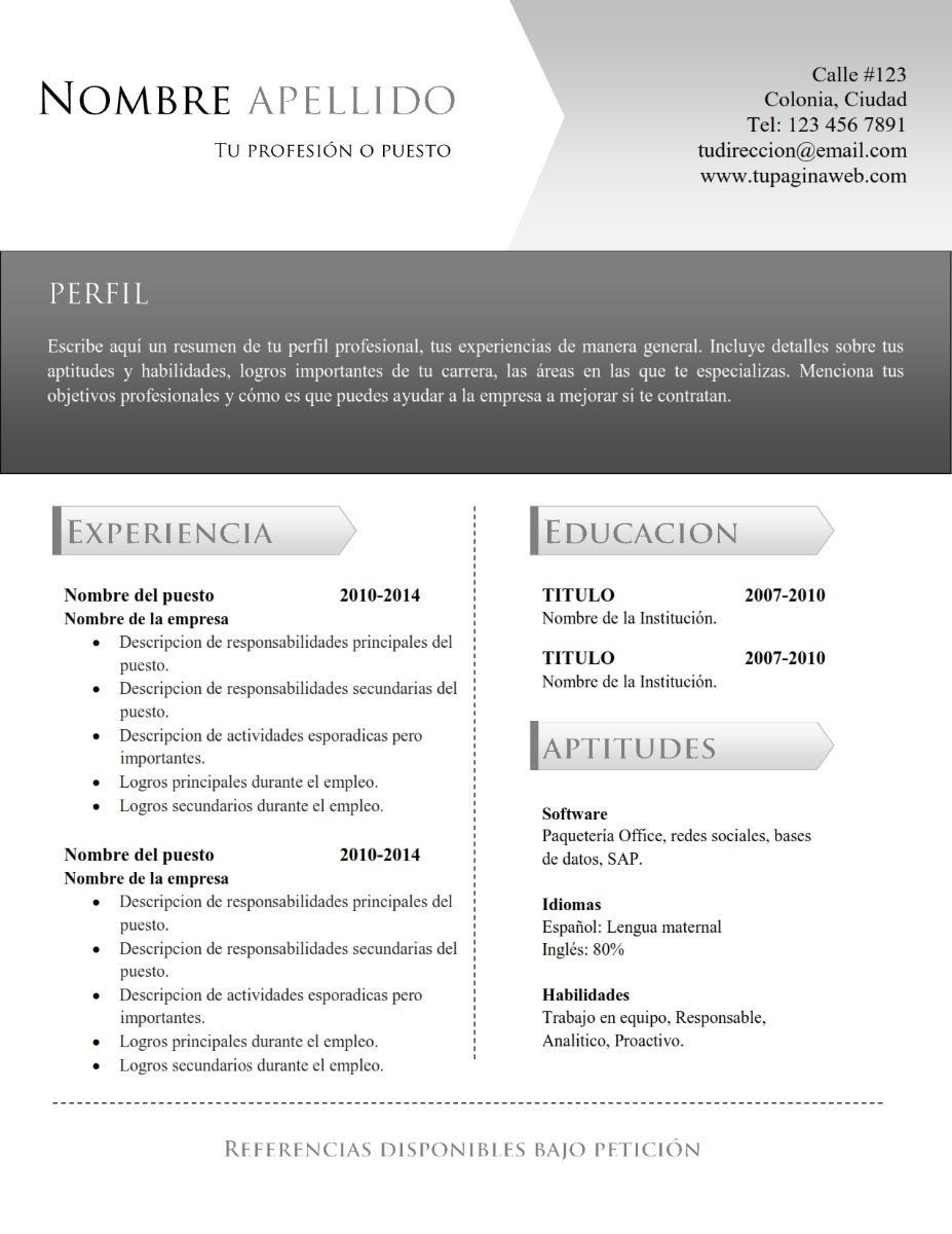 cv curriculum vitae - espa u00f1ol  ingl u00e9s - doc editable