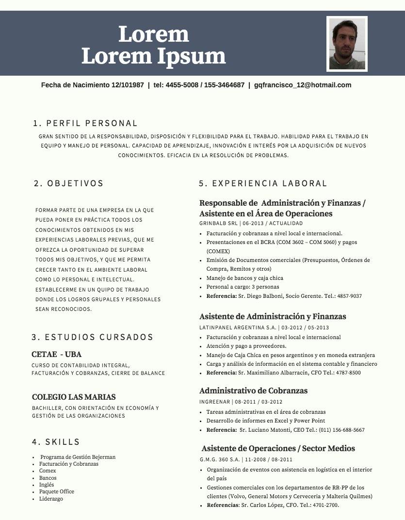 Cv - Curriculum Vitae Profesional - $ 150,00 en Mercado Libre