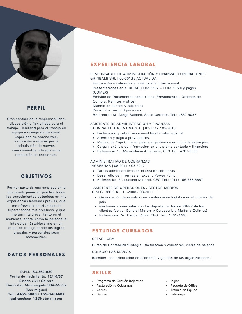 Atractivo Plantilla De Curriculum Vitae Administrativo Asistente ...