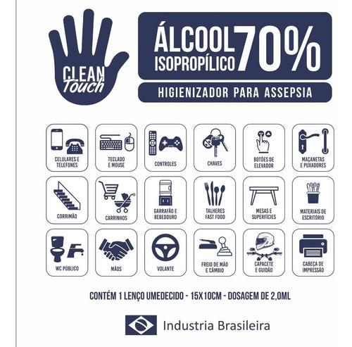 cx. com 100 lenços umedecidos com alcool em gel