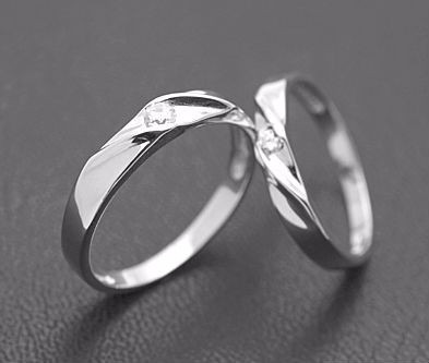 cz silver couples ring set