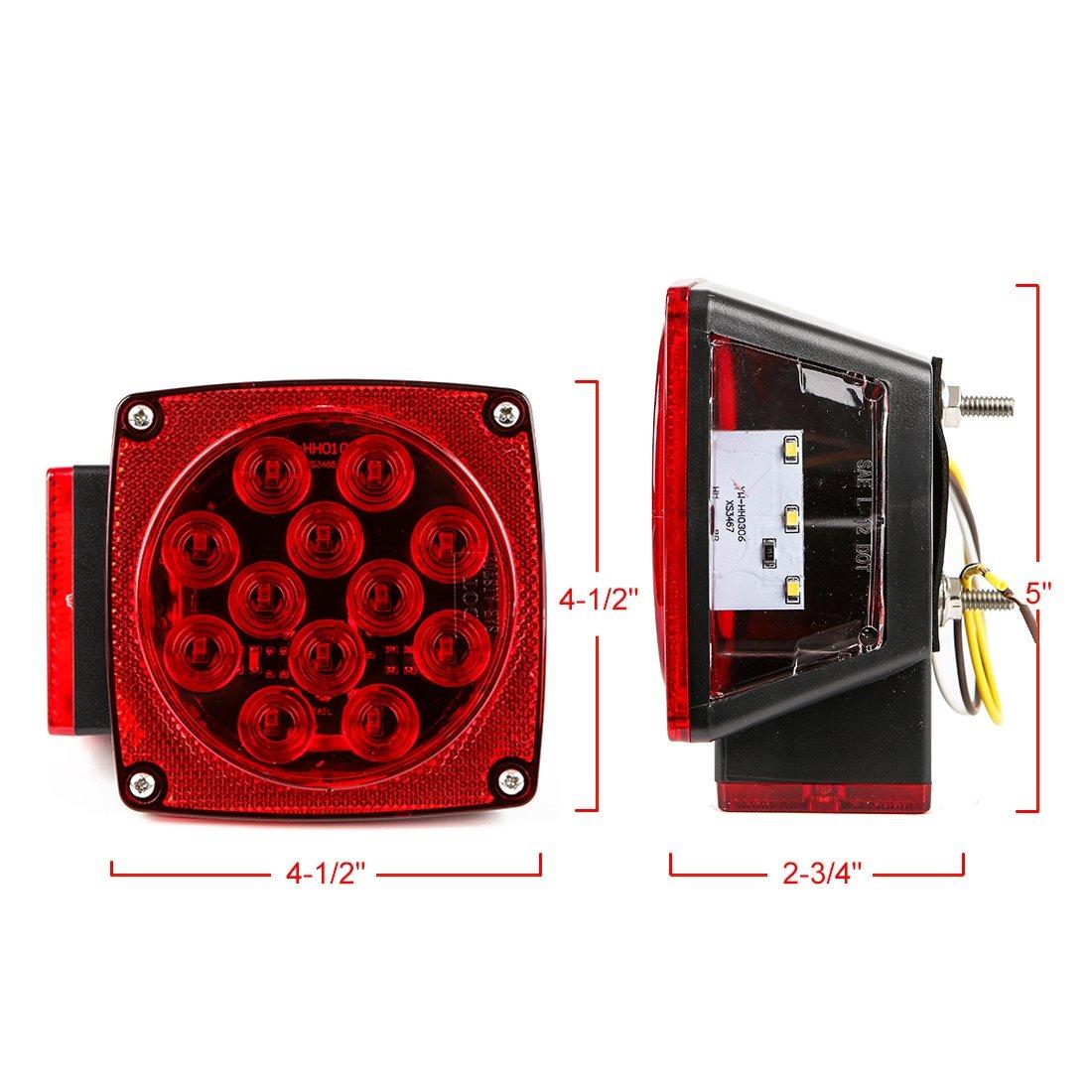 4333020007 CZC AUTO 12V LED Submersible Trailer Tail Light Kit for Under 80 Inch Boat Trailer RV Marine Trailer Light kit