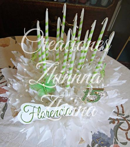 c.zhinna adorno centro 15 velas, 15 años decoracion