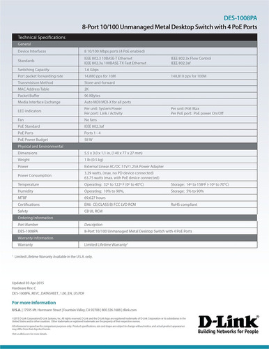d-link 8 port 10-100 switch de escritorio no administrado co