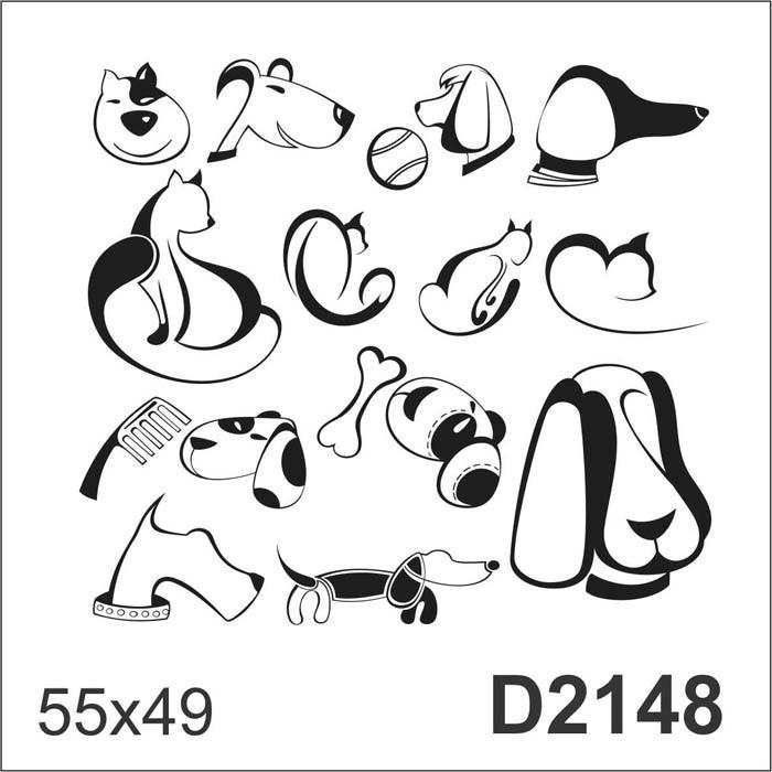 D2148 Adesivo Decorativo Gato Cachorro Desenho Abstrato R 87 26