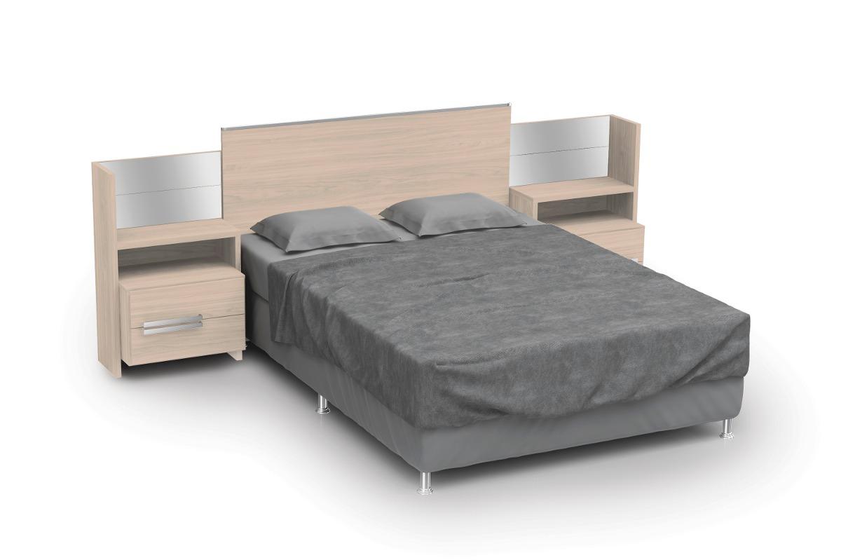 d295 cabeceira com criado mudo para cama casal   amendoa